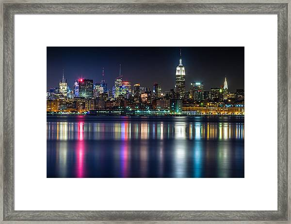Midtown Manhattan From Jersey City At Night Framed Print