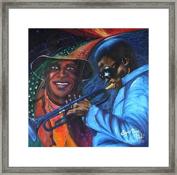 Blaa Kattproduksjoner            Miles Davis - Smiling Framed Print