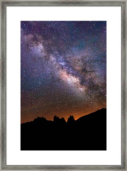 Milky Way Above Lone Pine. Framed Print