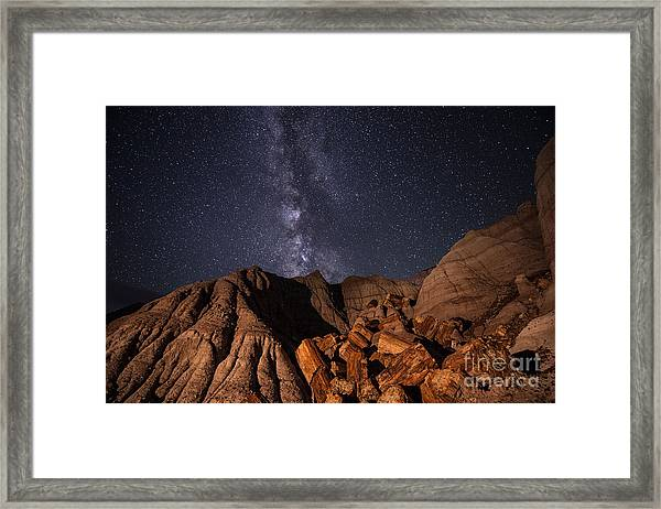 Milky Way And Petrified Logs Framed Print