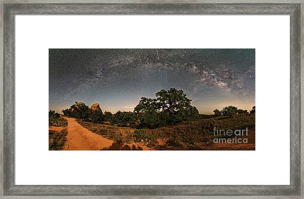 Milky Way Arch Over Enchanted Rock State Natural Area - Fredericksburg Texas Hill Country Framed Print