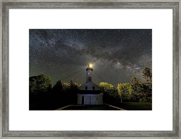 Milky Way Over Cana Island Lighthouse Framed Print
