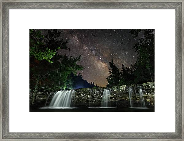 Milky Way Over Falling Waters Framed Print