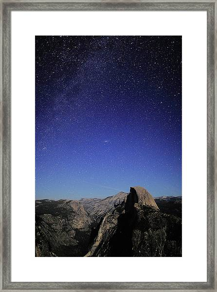 Milky Way Over Half Dome Framed Print