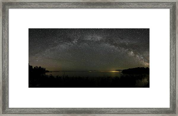Milky Way Over Lake Michigan At Cana Island Lighthouse Framed Print