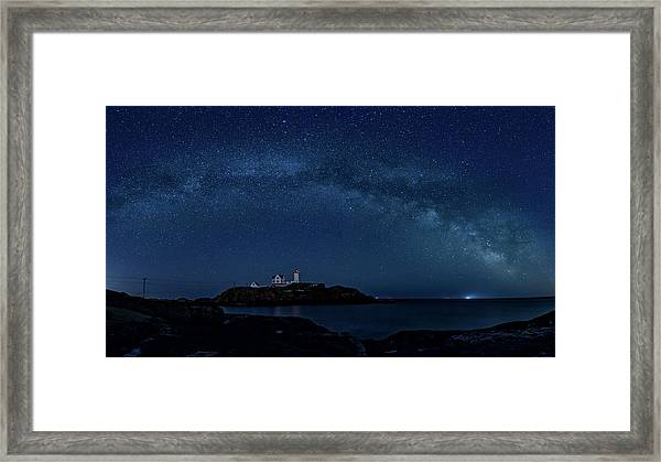 Milky Way Over Nubble Framed Print