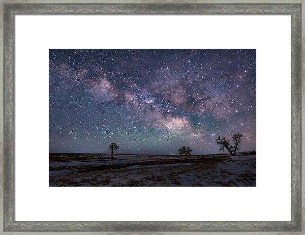 Milky Way Over The Prairie Framed Print