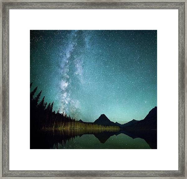Milky Way // Two Medicine Lake, Glacier National Park Framed Print