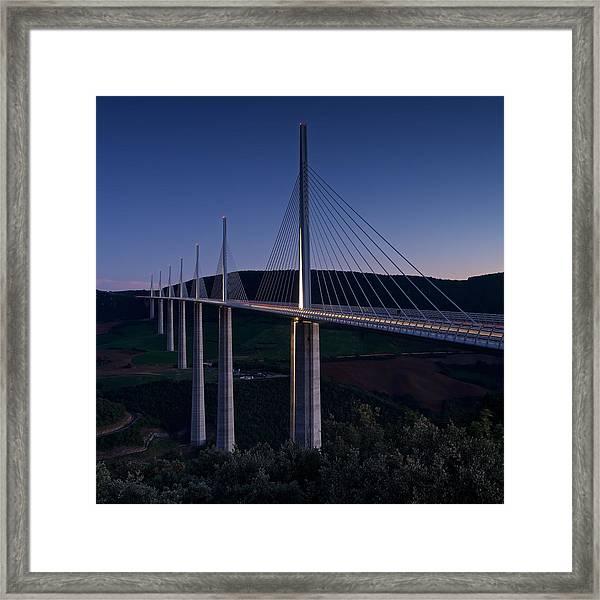 Millau Viaduct At Dusk Framed Print