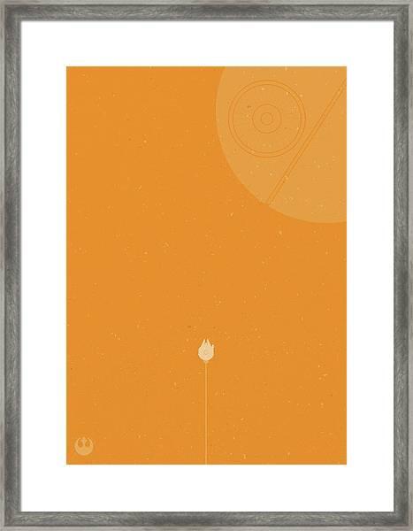 Millennium Falcon Meets Death Star Framed Print