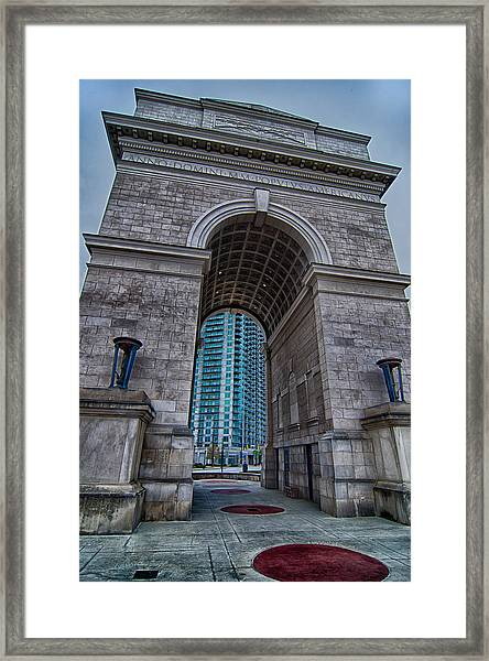 Millennium Gate Triumphal Arch At Atlantic Station In Midtown At Framed Print