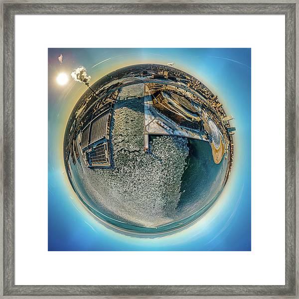 Milwaukee Pierhead Light Little Planet Framed Print