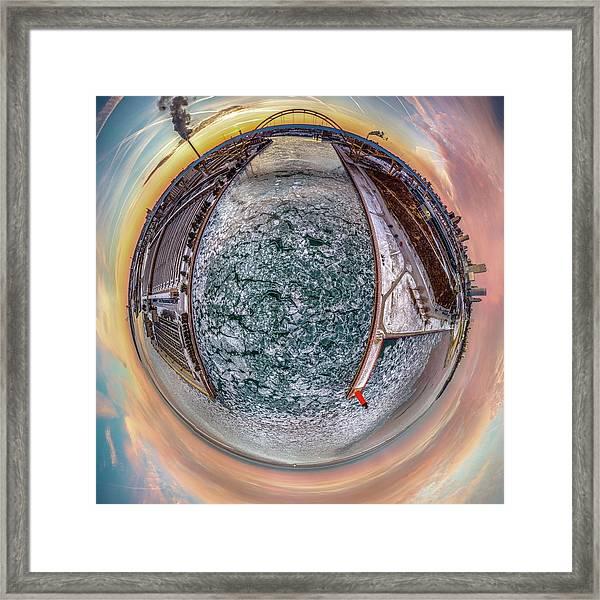 Milwaukee River Little Planet Framed Print