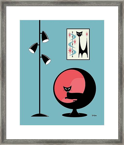 Mini Atomic Cat On Turquoise Framed Print