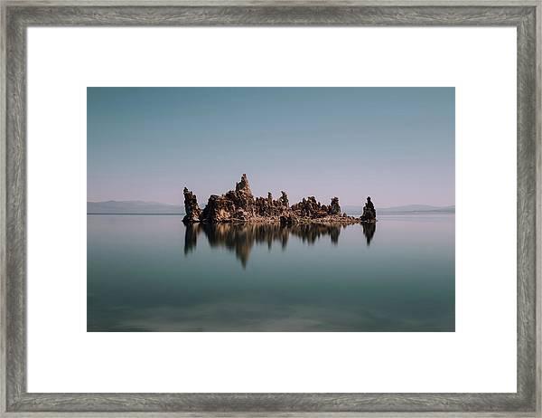 Minimal Mono Lake Framed Print