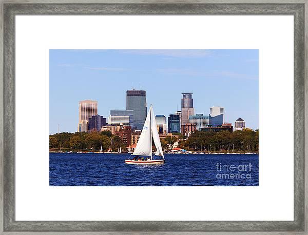 Minneapolis Skyline Lake Calhoun Sailing Framed Print