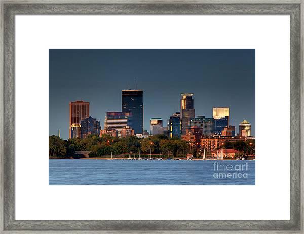 Minneapolis Skyline Photography Lake Calhoun Summer Evening Framed Print