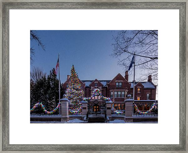 Framed Print featuring the photograph Christmas Lights Series #6 - Minnesota Governor's Mansion by Patti Deters