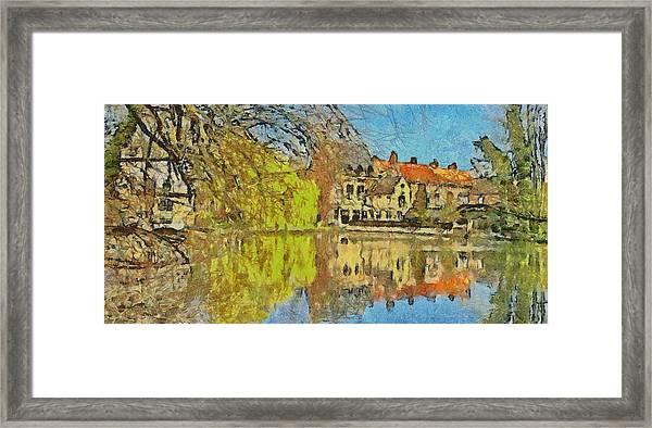 Minnewater Lake In Bruges Belgium Framed Print