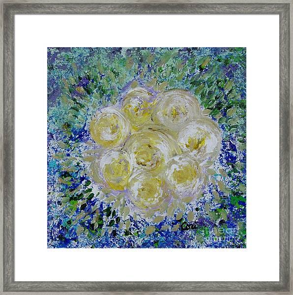 Min's White Bouquet Framed Print