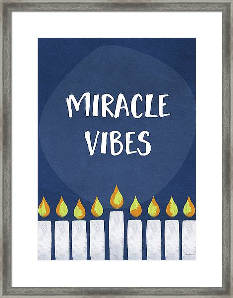Miracle Vibes- Hanukkah Art By Linda Woods Framed Print