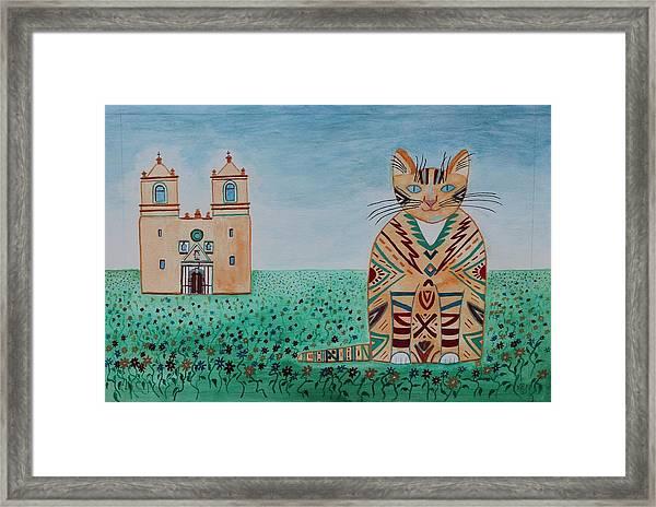 Mission Concepcion Cat Framed Print