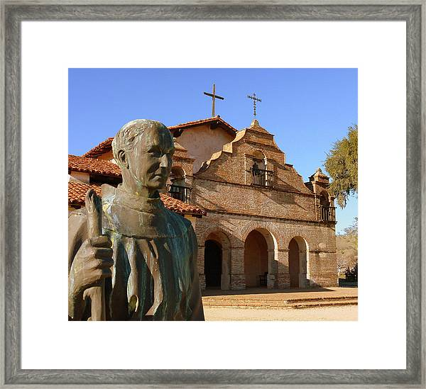 Mission San Antonio And Father Serra Framed Print
