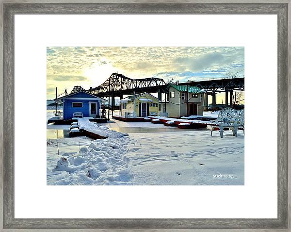 Mississippi River Boathouses Framed Print
