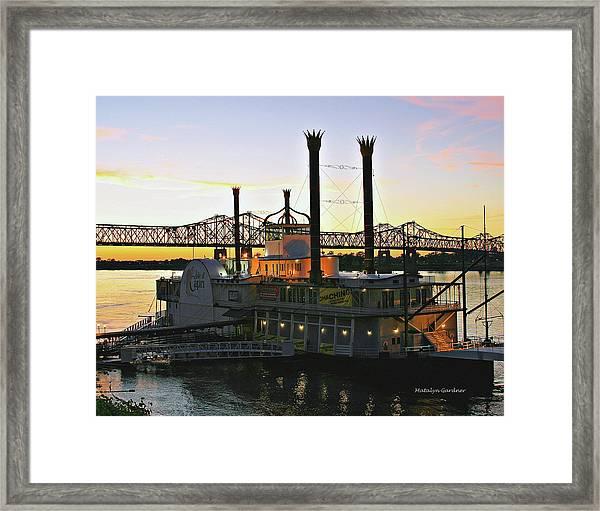 Mississippi Riverboat Sunset Framed Print