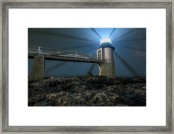 Mist At Marshall Point Light Framed Print