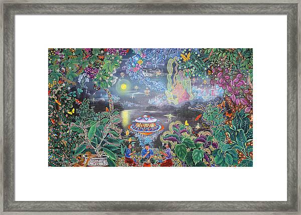 Framed Print featuring the painting Misterio Profundo by Pablo Amaringo