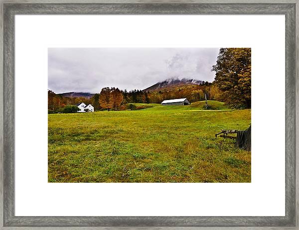 Misty Autumn At The Farm Framed Print