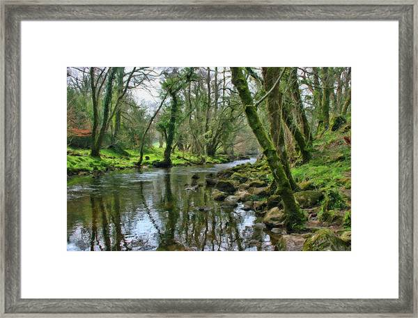 Misty Day On River Teign - P4a16017 Framed Print