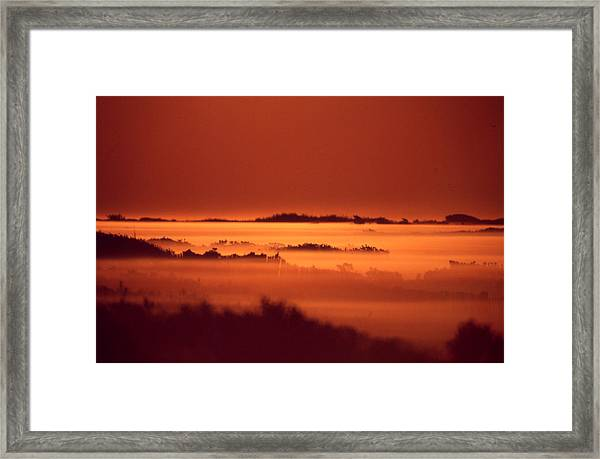 Misty Meadow At Sunrise Framed Print