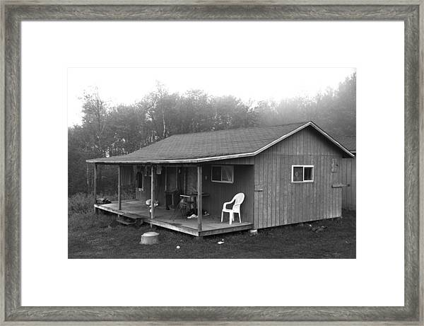 Misty Morning At The Cabin Framed Print