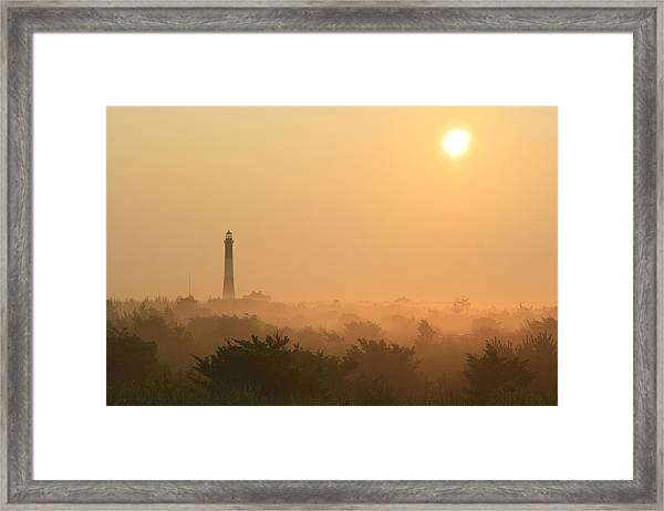 Misty Morning Fire Island Light Framed Print