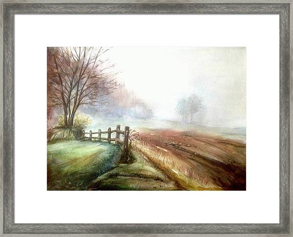 Framed Print featuring the painting Misty Morning by Katerina Kovatcheva