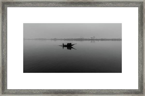 Framed Print featuring the photograph Misty Morning On The Lower Ganges by Chris Cousins
