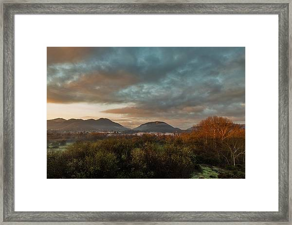 Misty Morning Over The San Diego River Framed Print