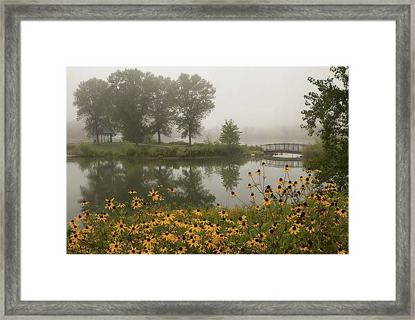 Framed Print featuring the photograph Misty Pond Bridge Reflection #3 by Patti Deters