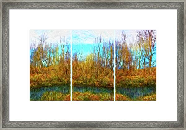 Misty River Vistas - Triptych Framed Print