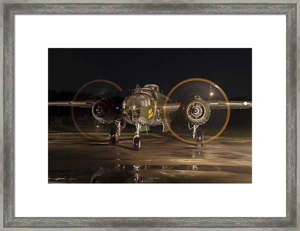 Mitchell Night Engine Run Framed Print