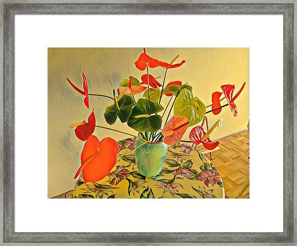 Mixed Aloha Anthuriums Matisse Framed Print