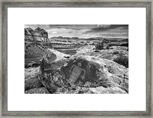 Moab Maiden Petroglyph - Black And White - Utah Framed Print