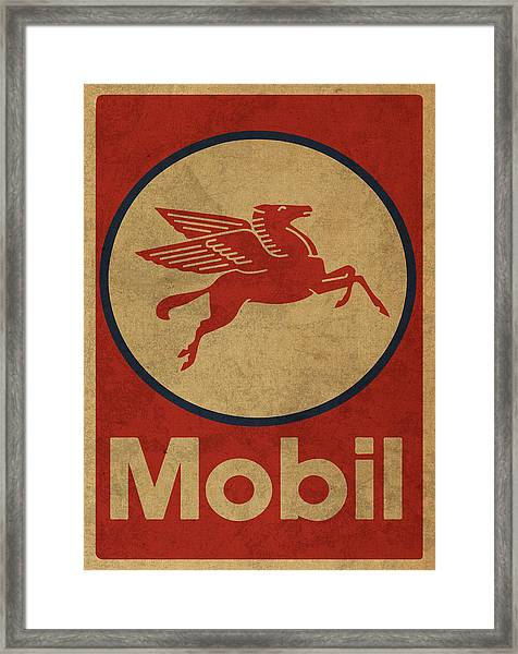 Mobil Oil Gas Station Sign Vintage Art Framed Print