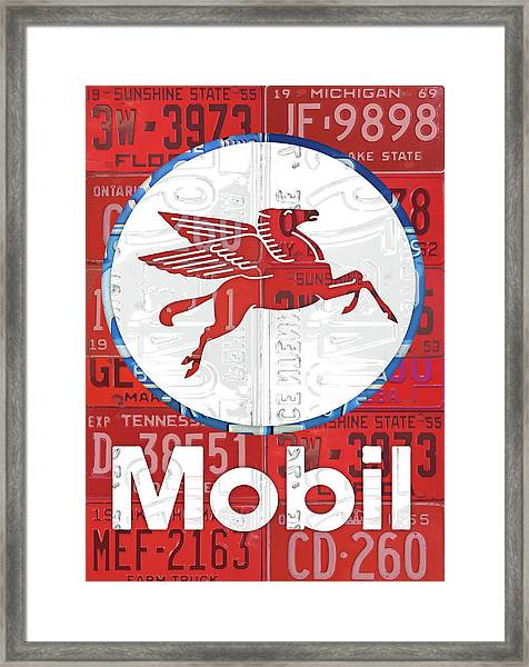 Mobil Oil Gas Station Vintage Sign Recycled License Plate Art Framed Print