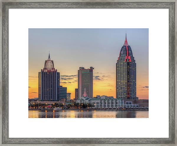 Mobile Skyline At Sunset Framed Print