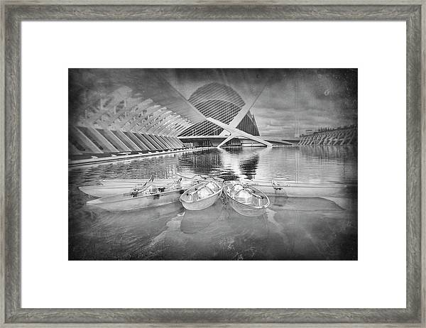 Modern Architecture Valencia Spain In Black And White Framed Print