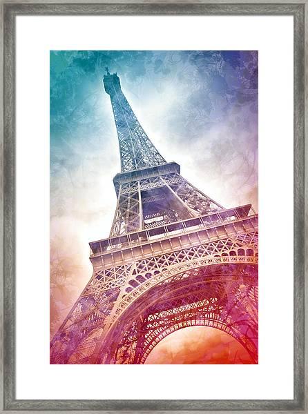 Modern-art Eiffel Tower 21 Framed Print