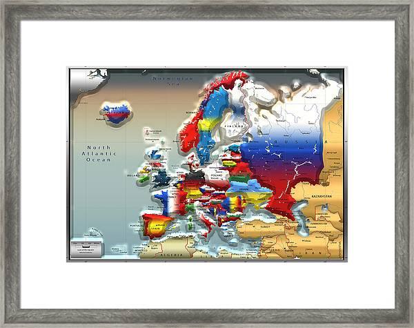 Modern Portrait Of Modern Europe - 3d Framed Print